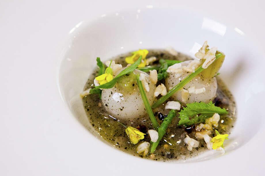 Second course: Turnip, tapioca, rice, oyster (Creel Films)