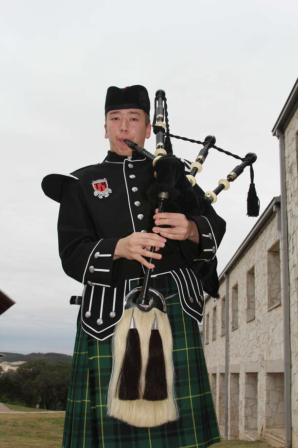 Lincoln Abbott, a freshman at TMI-The Episcopal School, became entranced with the bagpipes when he sighted players in the Boerne Weihnachts Parade six years ago. His skill level has brought him recent awards. Photo: Lauri Gray Eaton / Northwest Wee