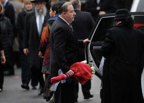 Lenny Pozner leaves the funeral service for his six year-old Noah Pozner, killed in the mass shooting at Sandy Hook Elementary School in Newtown, at the Abraham L. Green Funeral home in Fairfield on Monday, December 17, 2012. Photo: Brian A. Pounds / Connecticut Post