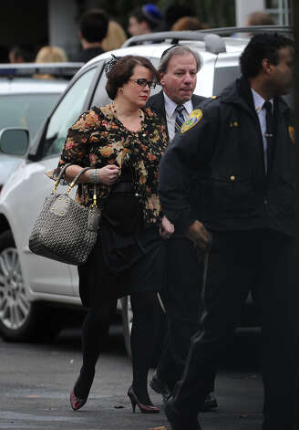 Veronique Pozner leaves the funeral for her six year-old son Noah Pozner, killed in the mass shooting at Sandy Hook Elementary School in Newtown, at the Abraham L. Green Funeral home in Fairfield on Monday, December 17, 2012. Photo: Brian A. Pounds / Connecticut Post