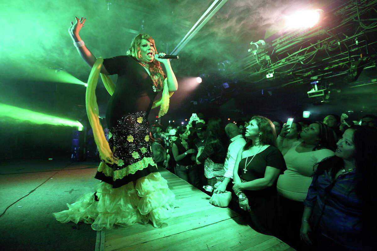 Jenni Rivera impersonator Odalis Aranjin, 33, performs Friday Dec. 14, 2012 at El Fuerte.