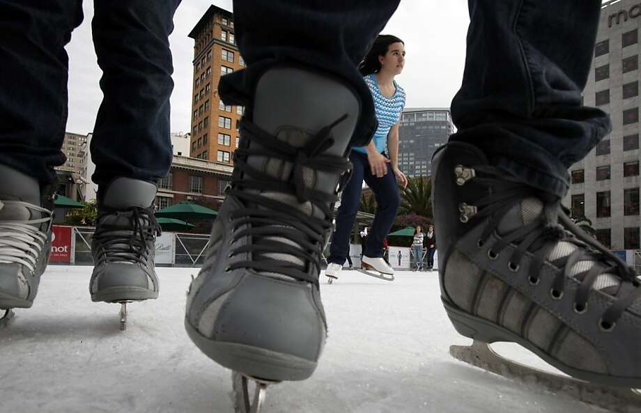 Despite a cold snap over the weekend, it was hardly ice time in San Francisco - except for these skaters who went for a few spins around the rink at Union Square. The next few days may feel kind of mushy, though. Photo: Sarah Rice, Special To The Chronicle