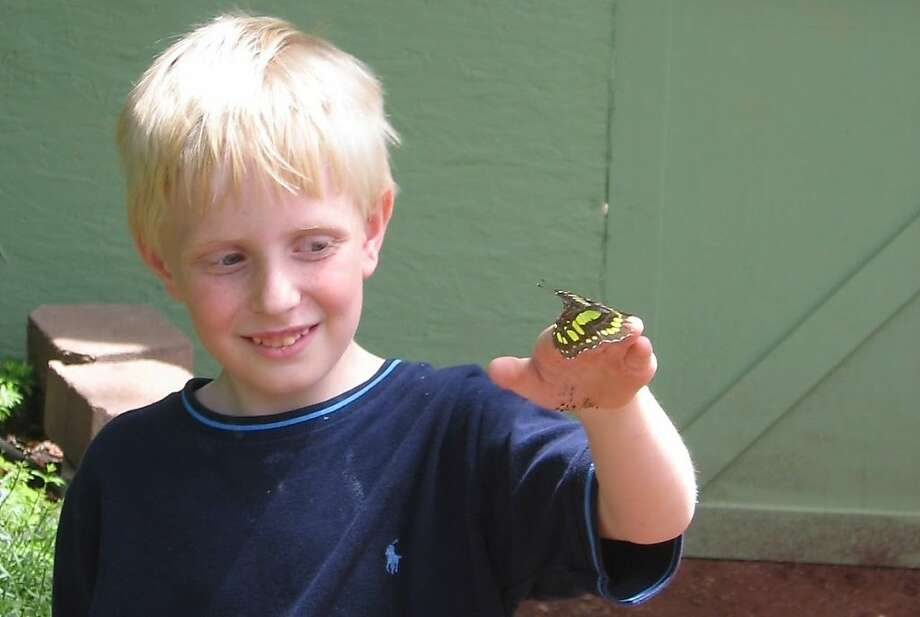 """""""Michael"""" with a butterfly. Photo: Liza Long, The Blue Review"""