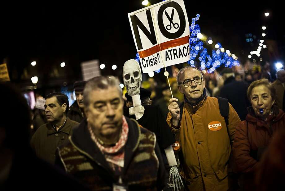 Union members in Madrid were among protesters in 55 cities demonstrating against government cutbacks. Photo: Daniel Ochoa De Olza, Associated Press