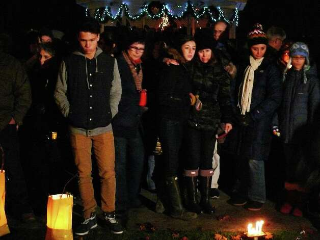 Several hundred people gathered on Sherman Green Monday for a vigil for the victims of the school shooting in Newtown. Photo: Genevieve Reilly / Fairfield Citizen
