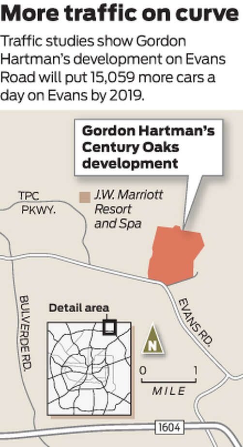 Traffic studies show Gordon Hartman's development on Evans Road will put 15,059 more cars a day on Evans by 2019. Photo: Mike Fisher
