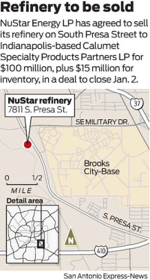 NuStar Energy LP has agreed to sell its refinery on South Presa Street to Indianapolis-based Calumet Specialty Products Partners LP for $100 million, plus $15 million for inventory, in a deal to close Jan. 2. Photo: Harry Thomas