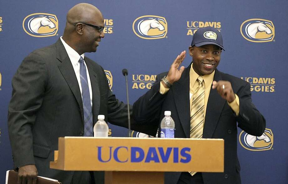 Ron Gould (right) is introduced as UC Davis' head coach by athletic director Terry Tumey. Photo: Wayne Tilcock, Associated Press