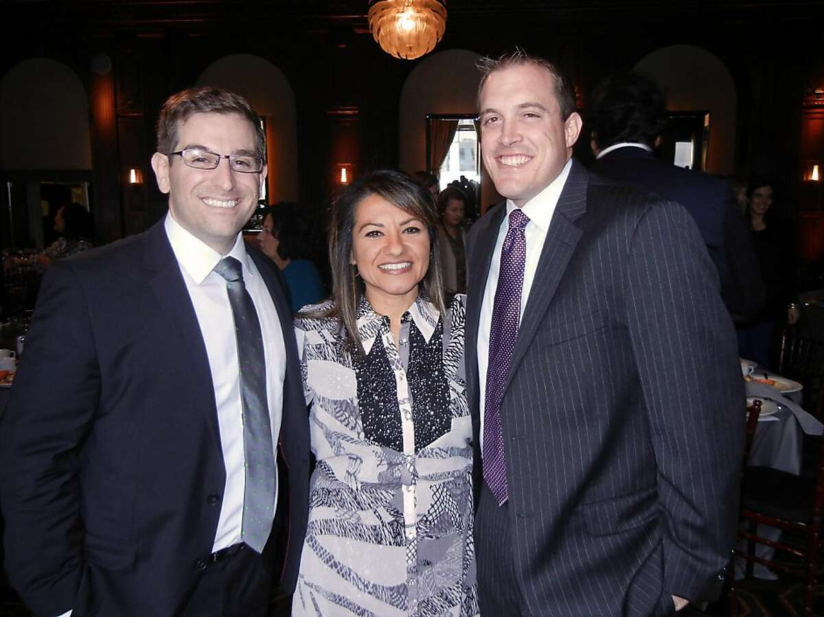Lawyer Matthew Kahn (left) with Rocketship Liason Karen Martinez and Rocketship co-founder Preston Smith at the Tipping Point Awards Breakfast. Dec. 2012. By Catherine Bigelow.