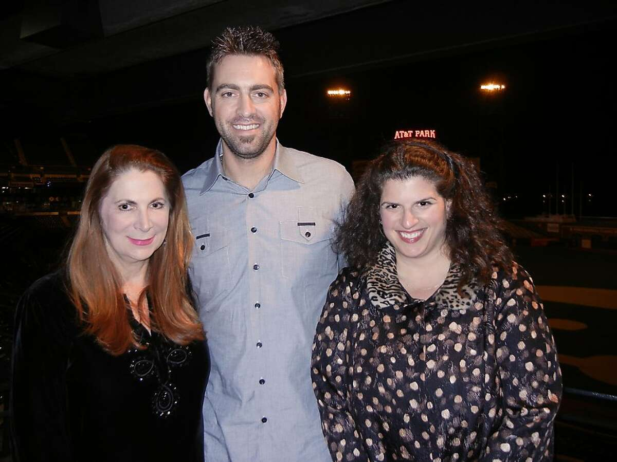 Holiday Heroes honorary co-chair Patricia Loucks (left) with Giants reliever Jeremy Affeldt and Wender Weis founder Amy Wender-Hoch at AT&T ballpark. Dec. 2012. By Catherine Bigelow.