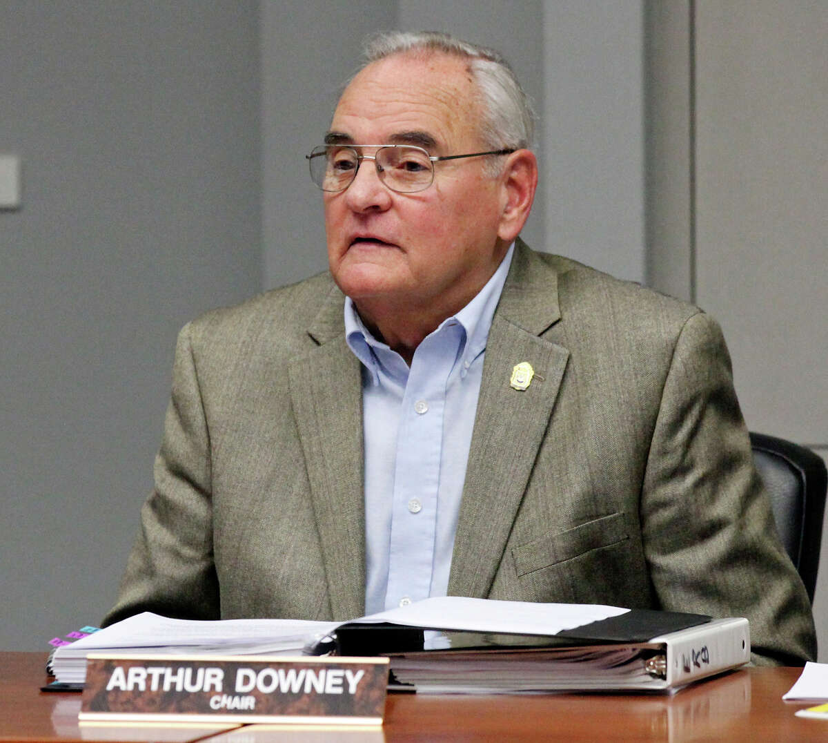 City of San Antonio Ethics Review Board Chairman Arthur Downey speaks during a meeting held Monday Dec. 17, 2012. The board is meeting to determine whether three current and former city employees violated the ethics code.