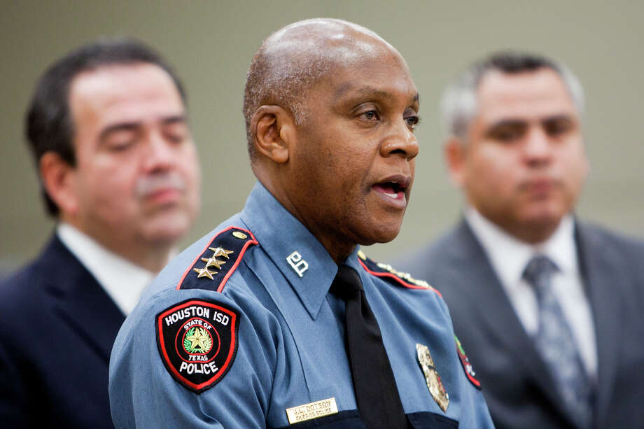 Houston Independent School District Police Chief Jimmy Dotson answers questions at HISD's headquarters Monday. Photo: Cody Duty, Staff / © 2012 Houston Chronicle