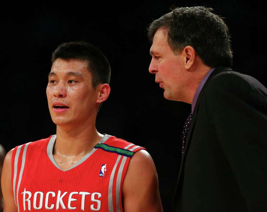 NEW YORK, NY - DECEMBER 17:  Jeremy Lin #7 of the Houston Rockets talks with head coach Kevin McHale in the first quarter against the New York Knicks on December 17, 2012 at Madison Square Garden in New York City. NOTE TO USER: User expressly acknowledges and agrees that, by downloading and/or using this photograph, user is consenting to the terms and conditions of the Getty Images License Agreement. Photo: Elsa, Getty Images / 2012 Getty Images
