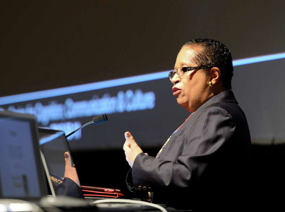 Shirley Jackson, president of the Rensselaer Polytechnic Institute(RPI) gives her address during the opening of the Center for Cognition, Communications and Culture at RPI in Troy, N.Y. Nov 13, 2012.  (Skip Dickstein/Times Union) Photo: Skip Dickstein / 00020107A