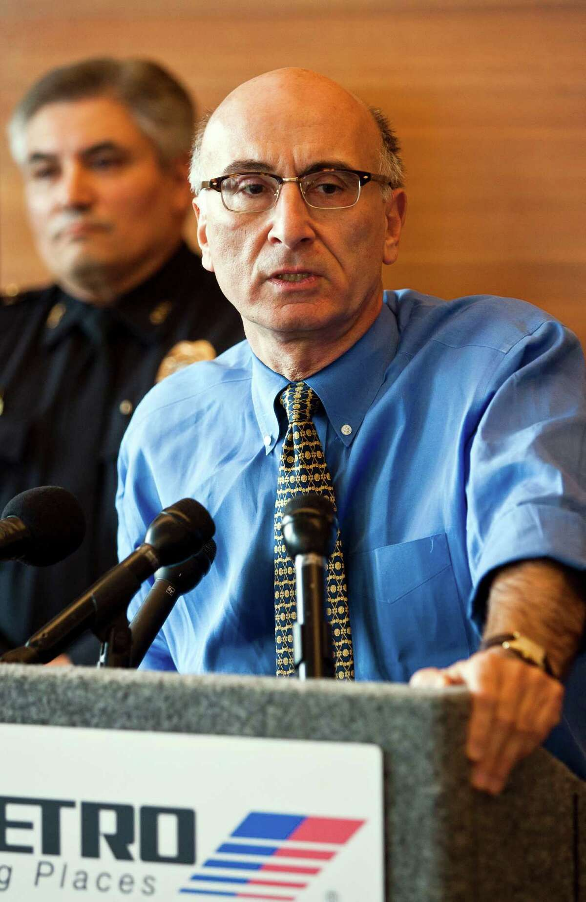 Metro CEO George Greanias speaks at the METRO headquarters regarding the death of bus driver David Sayers on Thursday, June 23, 2011 in Houston. ( Patrick T. Fallon / Houston Chronicle )