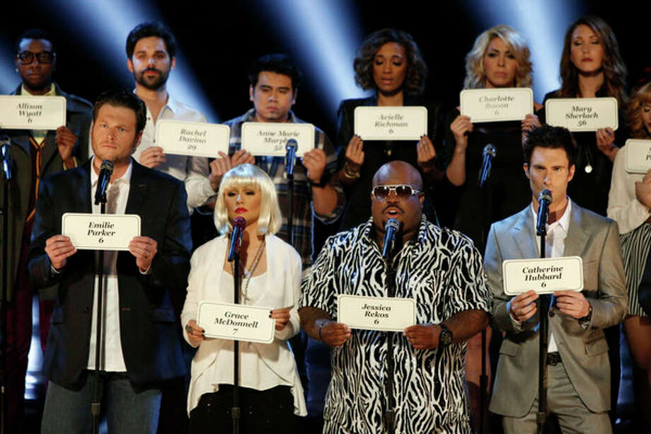 THE VOICE -- Live Show Episode 323A -- Pictured: (l-r) Christina Milian, Blake Shelton, Christina Aguilera, CeeLo Green, Adam Levine, Carson Daly and the top 21 contestants from Season 3 -- (Photo by: Tyler Golden/NBC) Photo: NBC, Tyler Golden/NBC / 2012 NBCUniversal Media, LLC