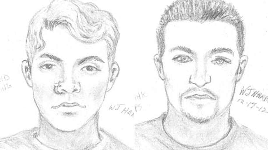 Here are sketches of two abduction suspects. The victim couldn't provide a description of the third man, accused of driving the pickup. (Fort Bend County Sheriff's Office)