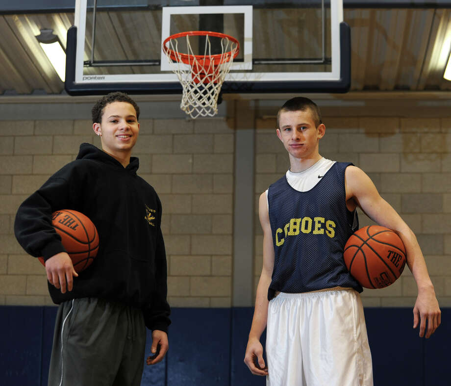 Cohoes guards Eli Newsome, left, and Brandon LaForest before basketball practice on Monday Dec. 17, 2012 in Cohoes, N.Y. (Lori Van Buren / Times Union) Photo: Lori Van Buren