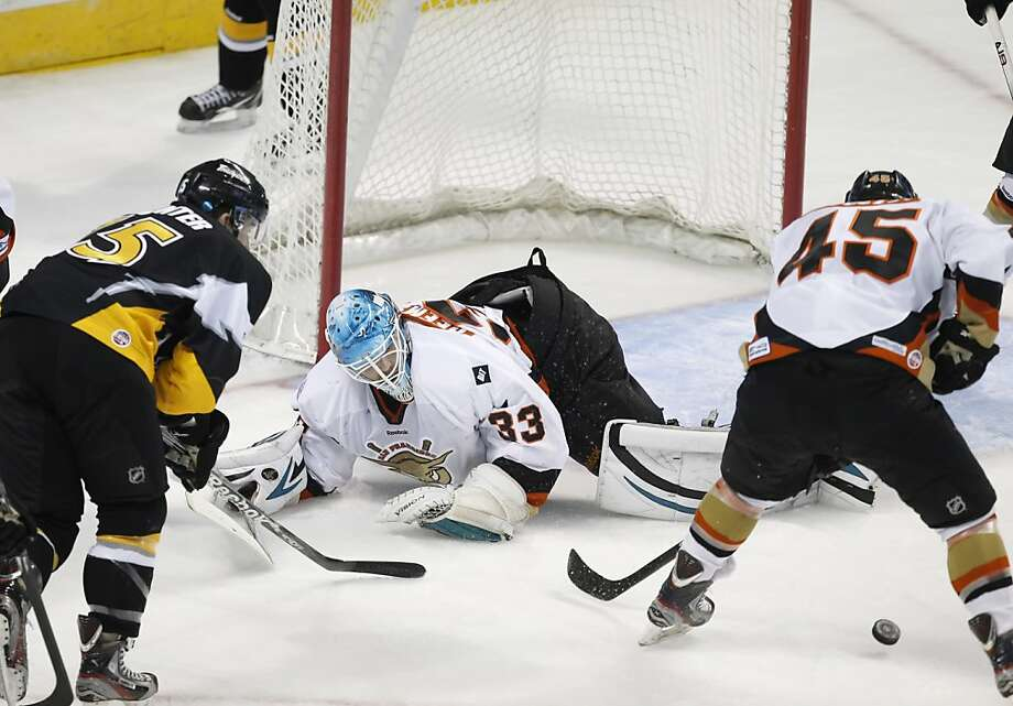 San Francisco Bulls goalie Thomas Heemskerk deflects a shot in the first period. The San Francisco Bulls played the Thunder at HP Pavilion in San Jose, Calif., on Monday, December 17, 2012. The two ECHL Premier 'AA' Hockey League teams played a game in the NHL Sharks' home ice. Photo: Carlos Avila Gonzalez, The Chronicle