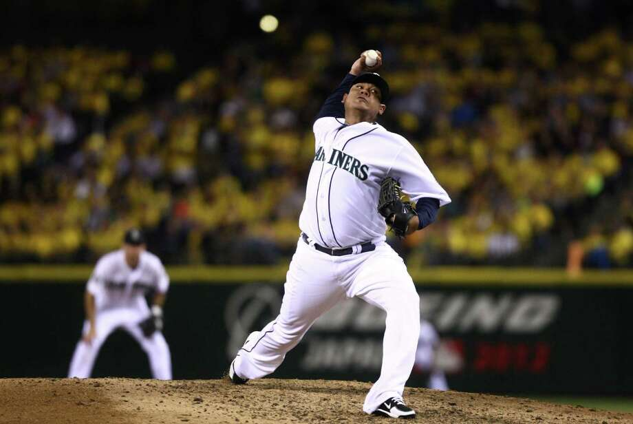 August 21, 2012— Seattle Mariners pitcher Felix Hernandez throws against the Cleveland Indians during his first start at Safeco Field by Hernandez after throwing a perfect game in his previous appearance on the mound for the Mariners. Photo: JOSHUA TRUJILLO / SEATTLEPI.COM
