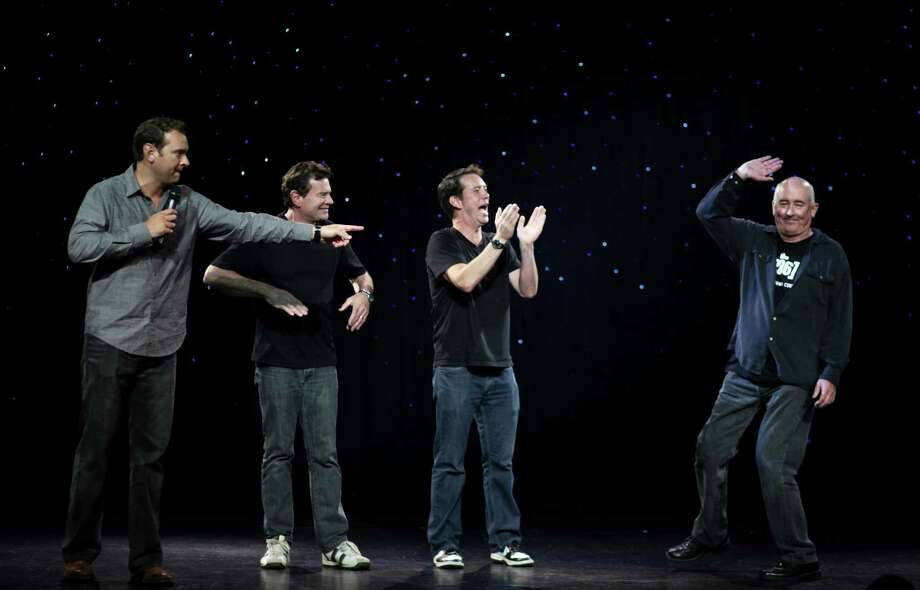 September 18, 2012— From left, Chris Cashman,Pat Cashman, Brooks McBeth and John Keister take the stage during the Night of The (206) performance at The Triple Door in Seattle. The comedy show was a coming out of sorts for The (206), a show made up of some of the original cast and crew of the local hit show Almost Live. Photo: JOSHUA TRUJILLO / SEATTLEPI.COM