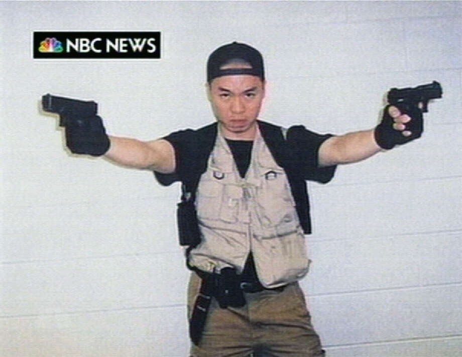 This video frame grab image taken from a video aired by NBC News on April 18, 2007, shows Virginia Tech gunman Cho Seung-Hui. A dormitory where two students were killed has been turned into a residential college. The  gunman killed himself. Photo: AP / NBC