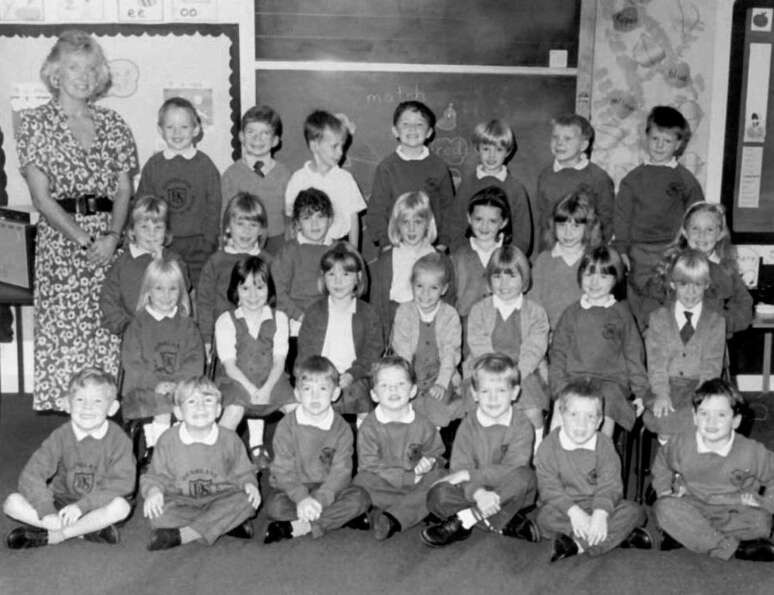This is an undated photo of the class of Dunblane Primary School, and their teacher, Gwenne Mayor, 4