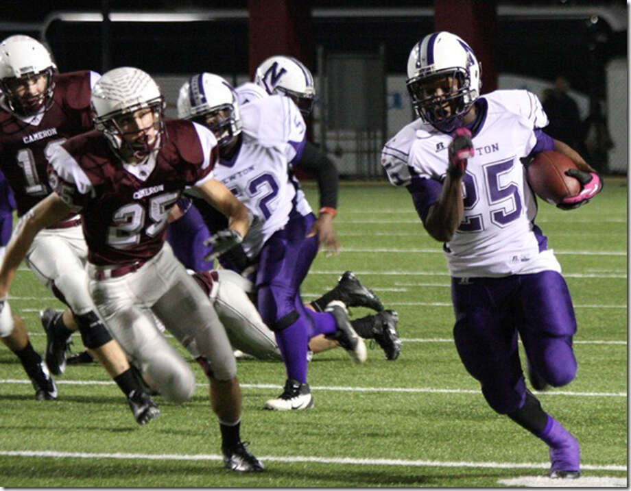 Brandon Johnson breaks open for Newton's first touchdown against Cameron Yoe. Photo: Joe Miller Jr.