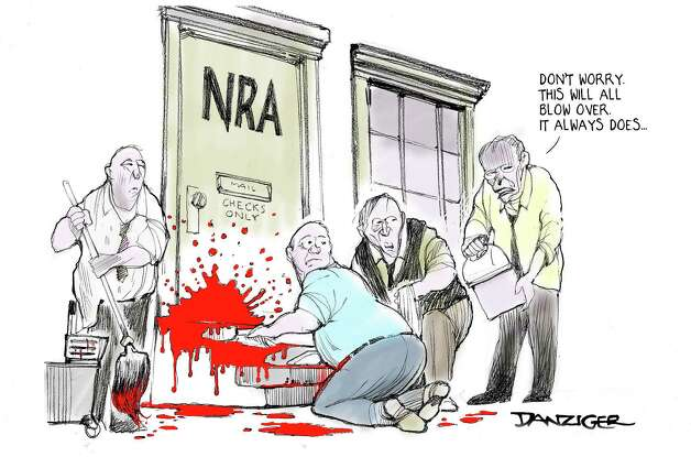 Wayne LaPierre, NRA, Newtown Shootings, Gun Lobby, political cartoon Photo: JEFF DANZIGER, Jeff Danziger/NYTS, CWS  / c Jeff Danziger 2012