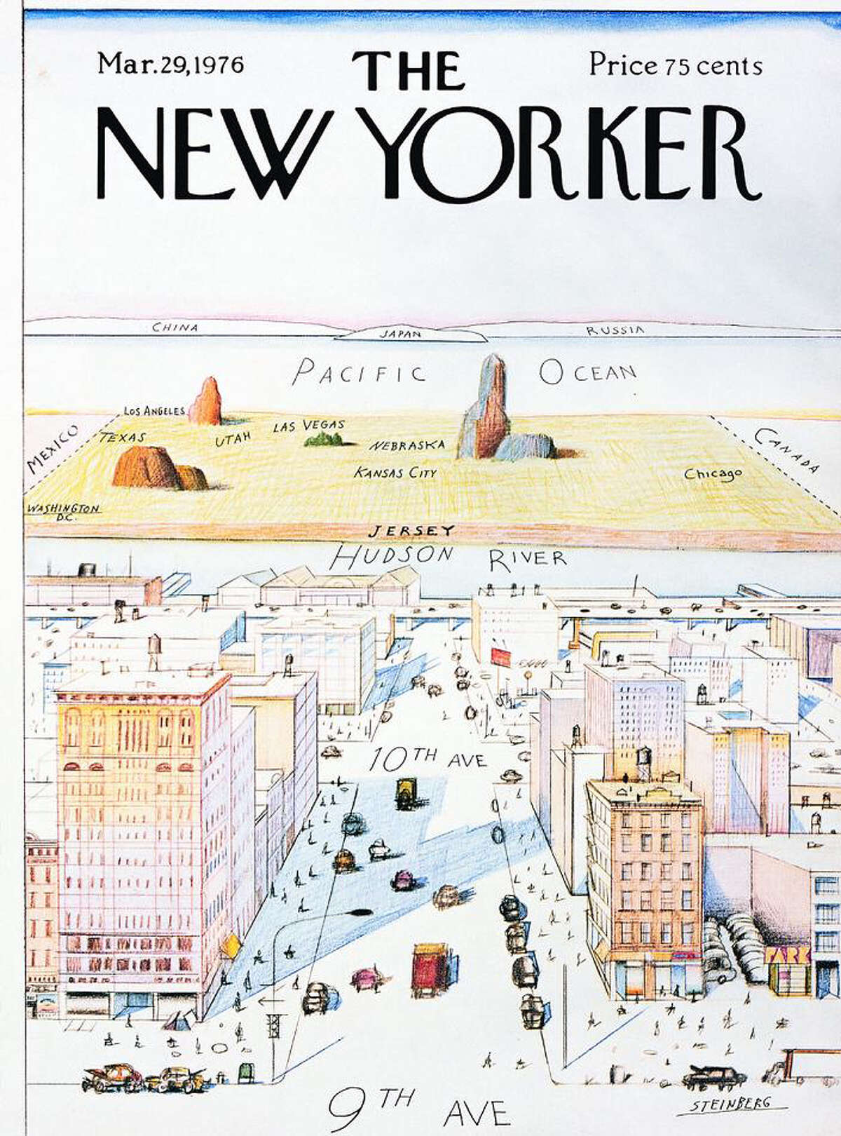 The most famous Saul Steinberg piece for The New Yorker was his 1976 cover art depicting New York City's place in America.
