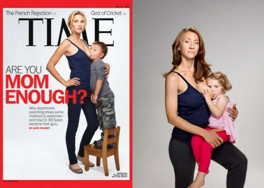Likely the most-talked-about parenting story of 2012 was the provocative Time magazine breastfeeding cover featuring a mom breastfeeding her son who looks old enough to pour himself a glass of milk. The boy, just shy of 4 years old, is standing on a chair to reach the breast falling out of his mom's tank top. The pose makes the point that this boy is too big and old to be held in his mother's arms—but he can still breastfeed. Photos of more nursing moms appeared inside. (Time)