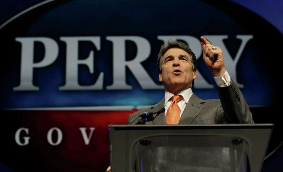 Texas Gov. Rick Perry denounces federal government, President Obama, the EPA, health care reform and other sins in speech to the Texas Republican Convention. Perry once joked about Texas leaving the union. As presidential candidate, Perry was a joke. Photo: LM Otero, Associated Press / AP2012