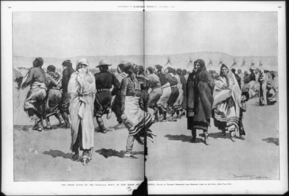 The Ghost dance by the Ogallala [sic] Sioux at Pine Ridge Agengy-Drawn by Frederic Remington from sketches taken on the spot. (Credit: Wikimedia Commons)