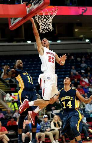 Fairfield University's Colin Nickerson goes up for a layup in a men's basketball game against Drexel University played at the Webster Bank Arena, Bridgeport, CT on Sunday December 16th, 2012. Photo: Mark Conrad / Connecticut Post Freelance