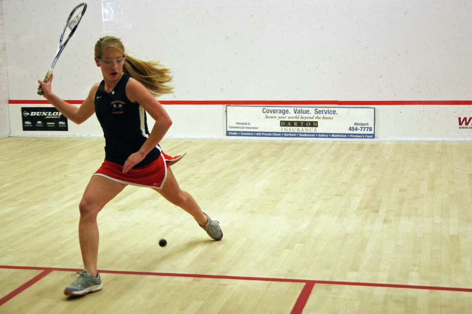 Greens Farms Academy junior Olivia Taylor competes in the girls squash team's 5-2 loss to Greenwich Academy on Thursday. Photo: Unknown, Contributed Photo / Norwalk Citizen
