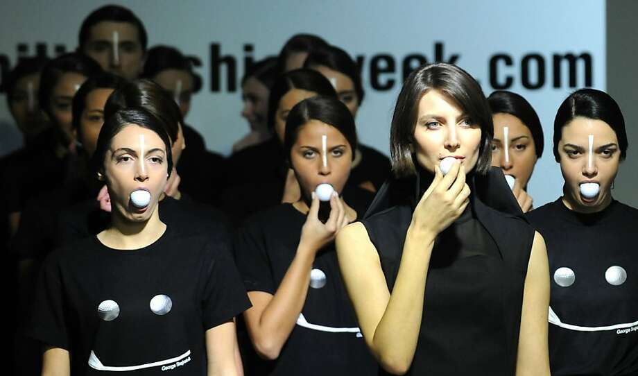 Who wants marshmallows?All of you, apparently. (Designs by George Shaghashvili at Tbilisi Fashion Week.) Photo: Vano Shlamov, AFP/Getty Images