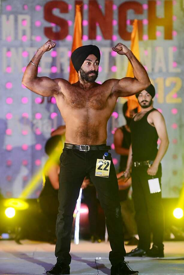 And the hairiest chest award goes to … A Sikh model flexes during the Mr. Singh International Turban Pride in Amritsar, India. Photo: Narinder Nanu, AFP/Getty Images