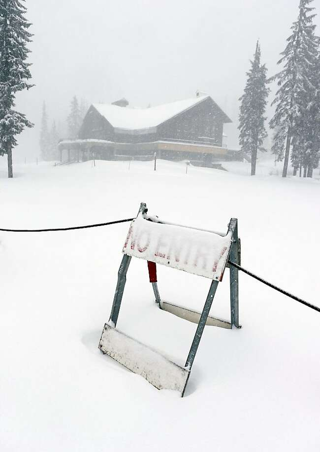 Despite appearances to the contrary, Oregon's Willamette Pass Ski Resort has yet to open because of lack of snow. Photo: Chris Pietsch, Associated Press