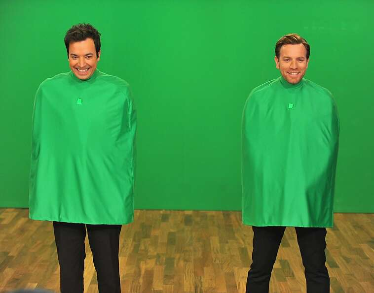 Disembodied duo: Jimmy Fallon and Ewan McGregor goof around with a green screen during a tapi