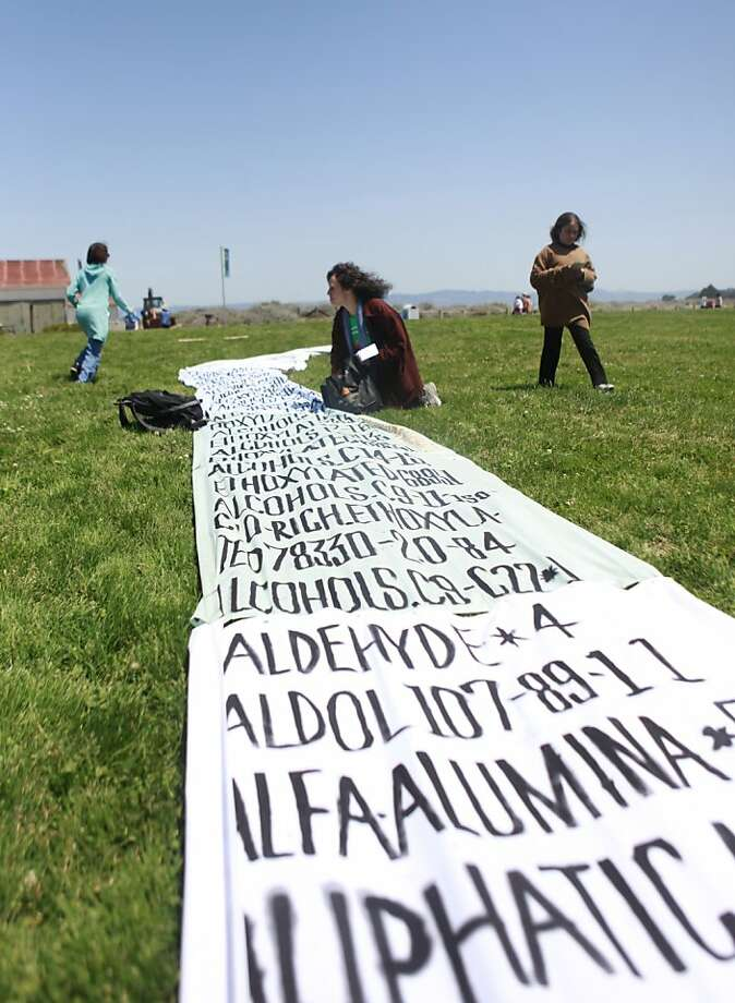 Environmentalists call for a ban of hydraulic fracturing at San Francisco's Crissy Field in May. Photo: Jill Schneider, The Chronicle