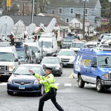 Traffic chokes the main intersection at Sandy Hook, in Newtown, Conn., Dec. 18th, 2012. Traffic in Sandy Hook and Newtown continues to grow following last Friday's mass shooting at Sandy Hook Elementary School.