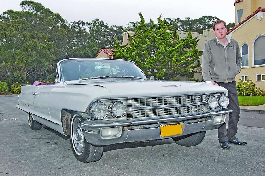 Tucker Madey is the assistant winemaker at Sutton Cellars in San Francisco's Dogpatch neighborhood and slings wine for Vintage '59, a small French importer. Madey is passionate about Cadillacs and is a proud owner of a 1962 Cadillac Convertible. Photo: Stephen Finerty, Photograph By Stephen Finerty -