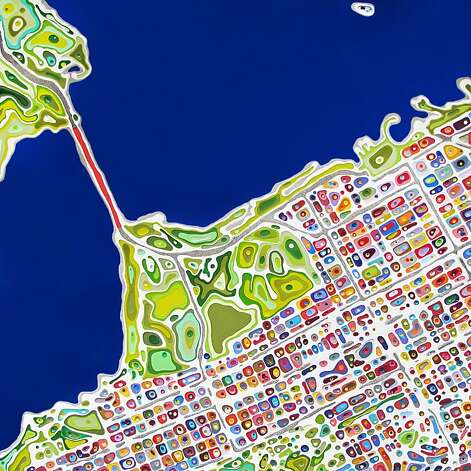 """San Francisco Blue,"" based on an aerial map of the city, is among Klari Reis' ""street anatomy"" works. Photo: Klari Reis, Handout"