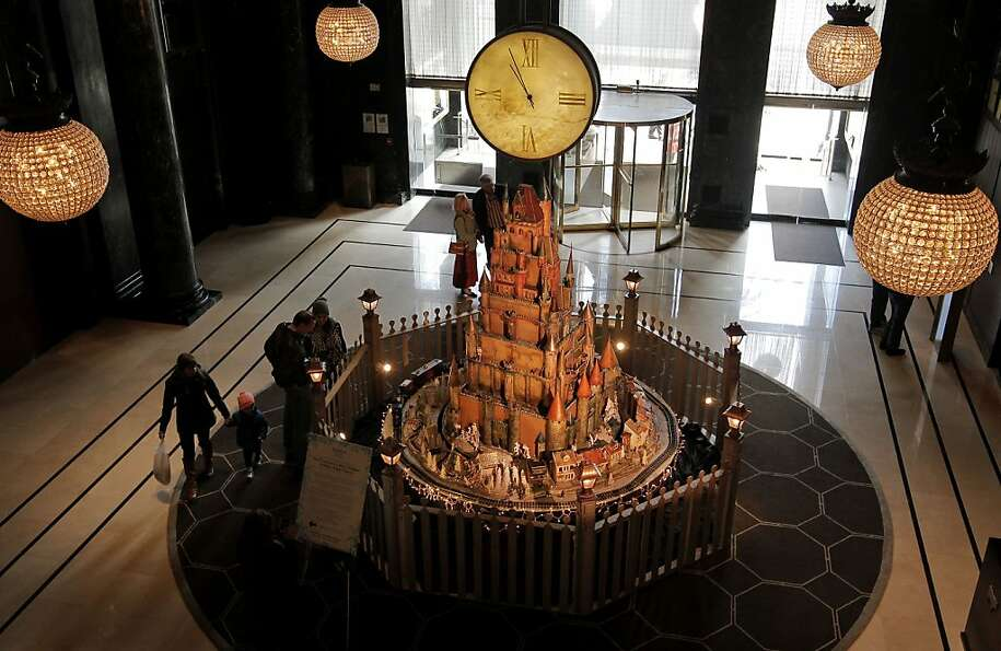 The Holiday Sugar Castle on display in the lobby of the Westin St. Francis Hotel in Union Square on