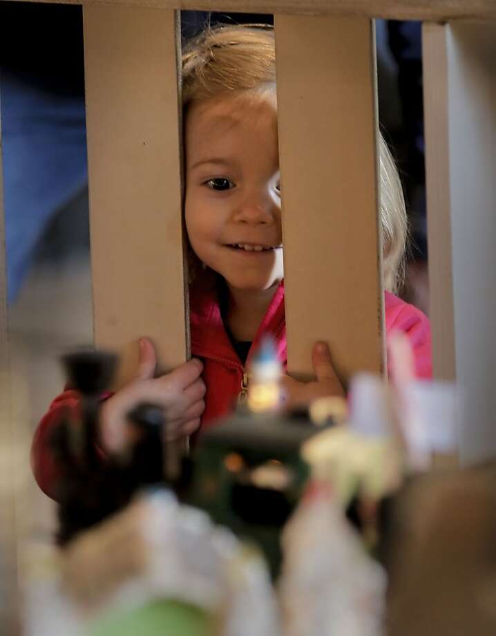 2-year-old Sadie Ginestro of Lafayette looks over the annual display of the Sugar Castle at the Westin St. Francis Hotel in Union Square on Tuesday Dec. 18, 2012 in San Francisco, Calif. Photo: Michael Macor, The Chronicle