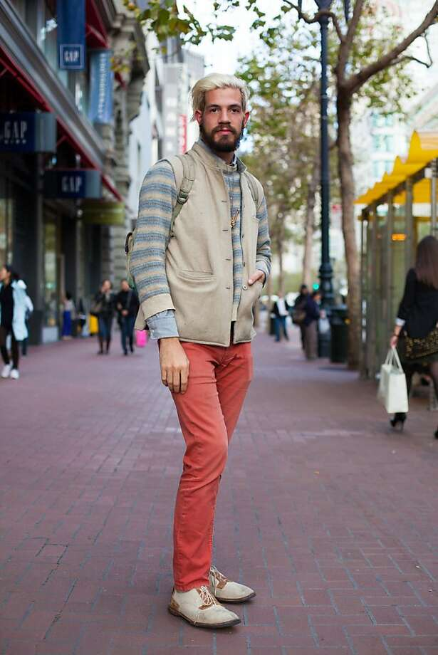 Alex Couto Davis wearing colored pants in San Francisco. Photo: Anna-Alexia Basile