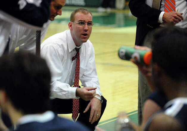 Staples head Coach Colin Devine, during boys basketball action against Norwalk in Norwalk, Conn. on Tuesday December 18, 2012. Photo: Christian Abraham