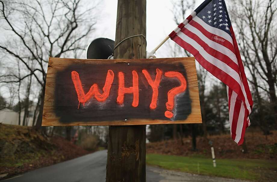 A  sign hangs near a cemetery where shooting victim Jessica Rekos was to be buried on December 18, 2012 in Newtown, Connecticut. Funeral services were held in Newtown Tuesday for Jessica Rekos and James Mattioli, both age six, four days after 20 children and six adults were killed at Sandy Hook Elementary School. Photo: John Moore, Getty Images