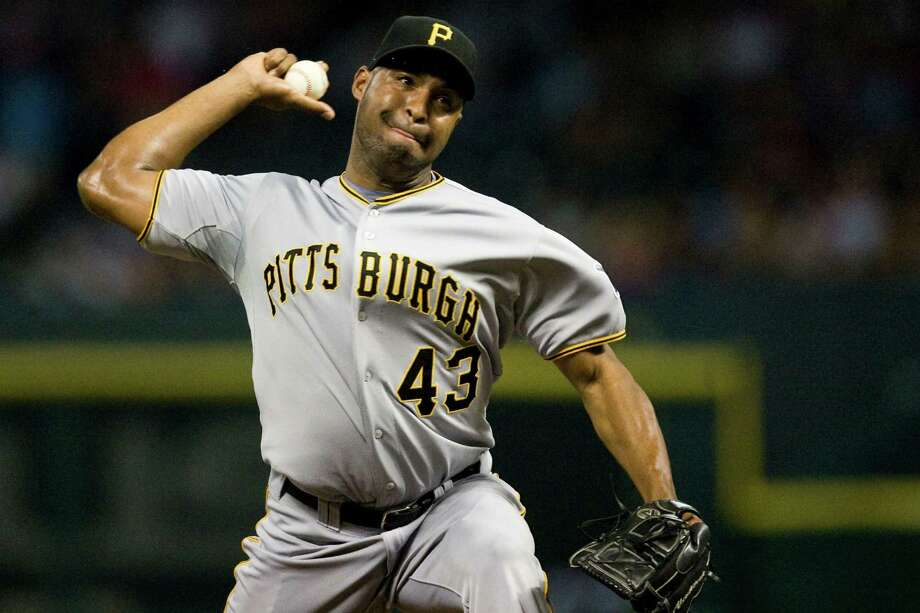 The Pirates are one of five teams Jose Veras has pitched for in a big league career that began in 2006. Photo: Patrick T Fallon, Intern / © 2011 Houston Chronicle