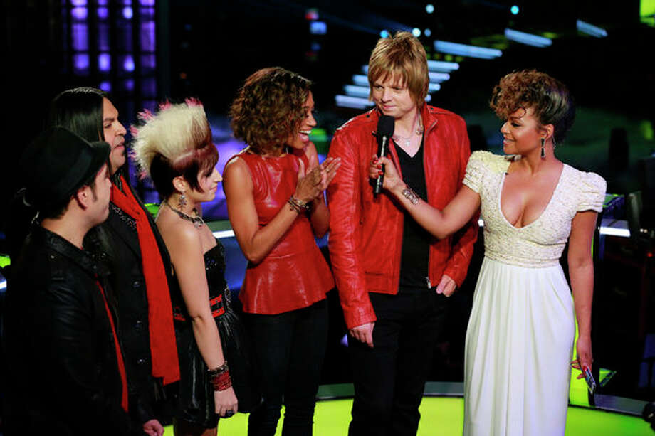 THE VOICE -- Live Finale Episode 323B -- Pictured: (l-r) Bryan Keith, Rudy Parris, Michaela Paige, Amanda Brown, Terry McDermott, Christina Milian -- (Photo by: Trae Patton/NBC) Photo: NBC, Trae Patton/NBC / 2012 NBCUniversal Media, LLC